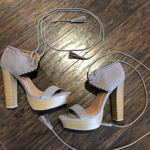 Stacked Chunky Heel Taupe Sandal with Tassels